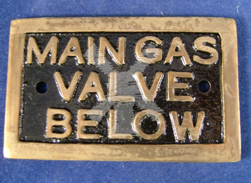 BRASS LABEL MAIN GAS VALVE BELOW